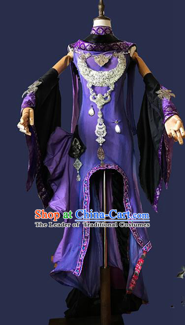 Chinese Ancient Cosplay Swordsman Purple Hanfu Dress Han Dynasty Female Knight-errant Costume for Women