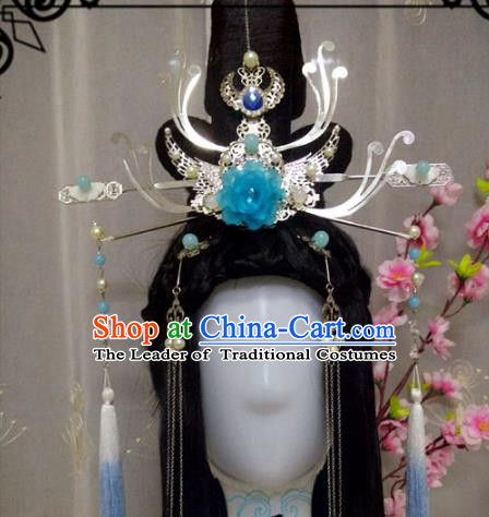Chinese Traditional Handmade Princess Hair Accessories Ancient Hairpins Phoenix Coronet Headwear for Women