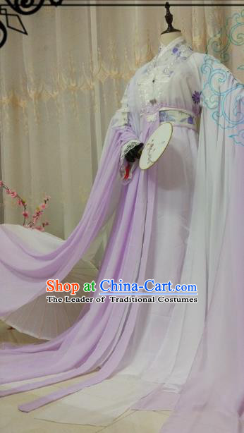 Chinese Ancient Princess Costume Cosplay Swordswoman Clothing Tang Dynasty Nobility Lady Purple Hanfu Dress for Women
