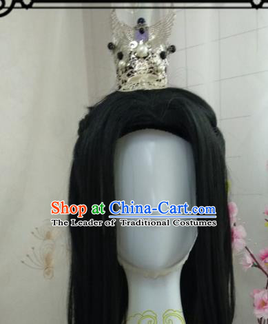 Chinese Traditional Handmade Hair Accessories and Wig Ancient Hairdo Crown Hairpins Complete Set for Men