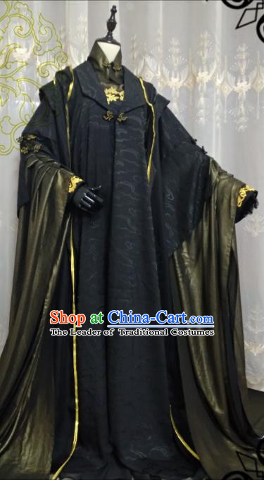 Chinese Ancient Fairy Black Costume Cosplay Swordswoman Clothing Knight Hanfu Dress for Women