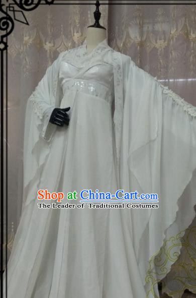 Chinese Ancient Fairy Costume Cosplay Swordswoman Clothing Imperial Concubine Princess White Hanfu Dress for Women