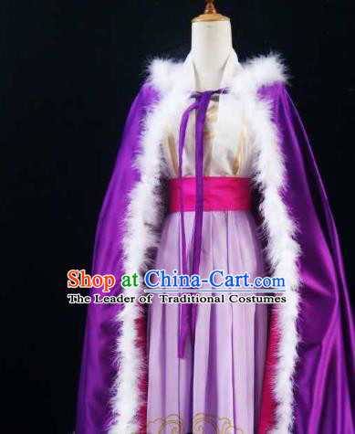 Chinese Ancient Costume Cosplay Swordswoman Clothing Female Knight Purple Hanfu Dress for Women