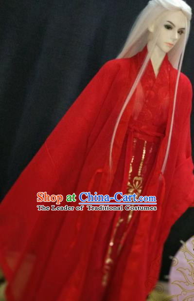 Chinese Ancient Nobility Childe Red Costume Cosplay Swordsman Royal Highness Clothing for Men