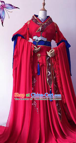 Chinese Ancient Costume Cosplay Imperial Concubine Clothing Tang Dynasty Princess Embroidered Red Hanfu Dress for Women