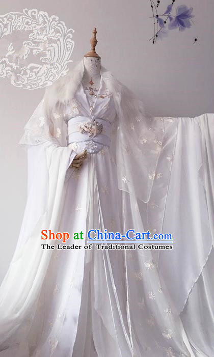 Chinese Ancient Costume Cosplay Imperial Concubine Clothing Tang Dynasty Princess Embroidered White Hanfu Dress for Women