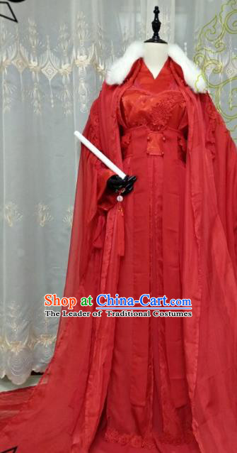 Chinese Ancient Wedding Bride Costume Cosplay Swordswoman Clothing Tang Dynasty Princess Hanfu Dress for Women