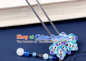 Chinese Traditional Handmade Hair Accessories Ancient Hairpins Hanfu Blueing Lotus Hair Clip for Women