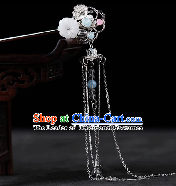 Chinese Traditional Handmade Hair Accessories Ancient Tassel Hairpins Hanfu Shell Step Shake for Women
