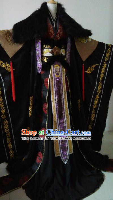 Chinese Ancient Emperor Costume Cosplay Nobility Childe Swordsman Embroidered Dragons Clothing for Men