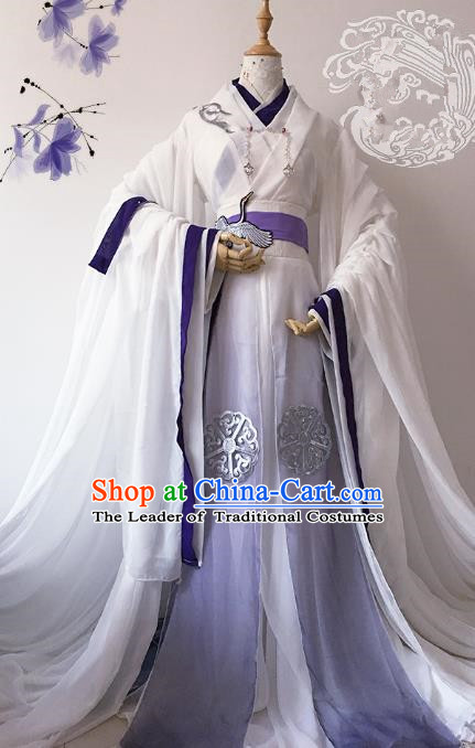 Chinese Ancient Crown Prince Costume Cosplay Nobility Childe Swordsman Embroidered Crane Clothing for Men