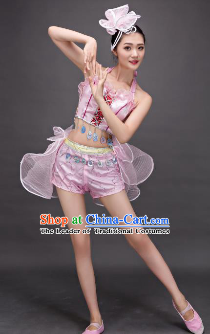 Top Grade Stage Show Costume Chorus Modern Dance Jazz Dance Pink Dress for Women