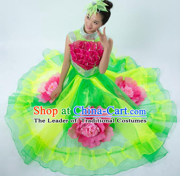Top Grade Stage Show Costume Chorus Modern Dance Classical Dance Peony Green Dress for Women