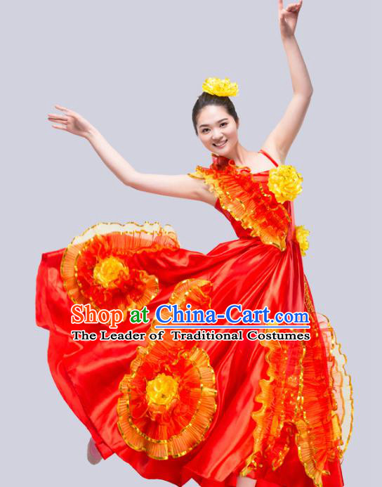 Top Grade Stage Show Costume Chorus Modern Dance Classical Dance Peony Red Dress for Women