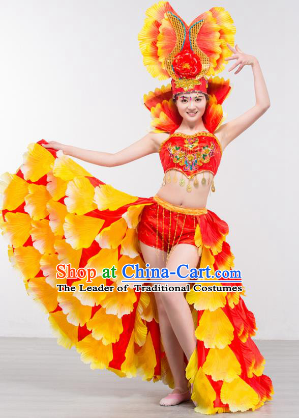 Top Grade Stage Show Costume Chorus Modern Dance Spanish Dance Red Dress and Headpiece for Women
