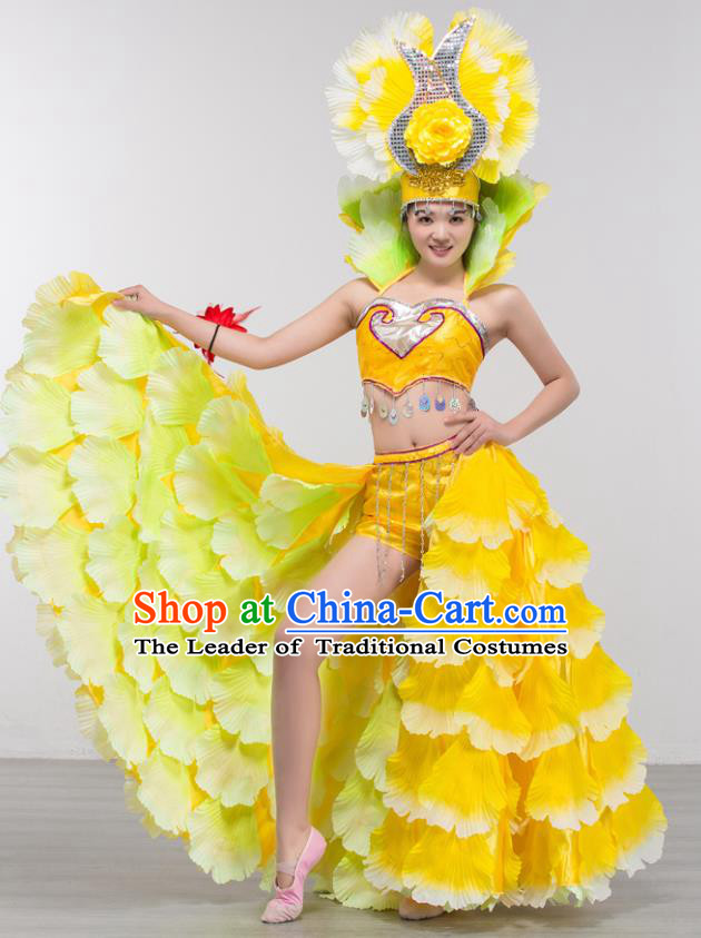Top Grade Stage Show Costume Chorus Modern Dance Spanish Dance Yellow Dress and Headpiece for Women