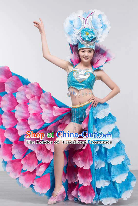 Top Grade Stage Show Costume Chorus Modern Dance Spanish Dance Blue Dress and Headpiece for Women