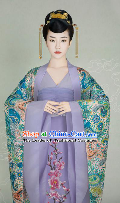 Traditional Chinese Ancient Imperial Concubine Trailing Dress Tang Dynasty Princess Embroidered Costume for Women