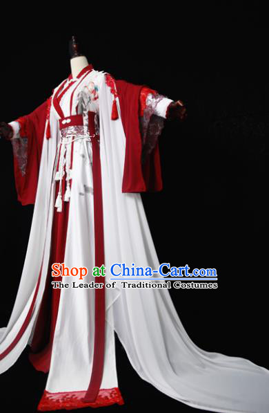 Chinese Ancient Cosplay Fairy Costume Han Dynasty Princess Embroidered Red Hanfu Dress for Women