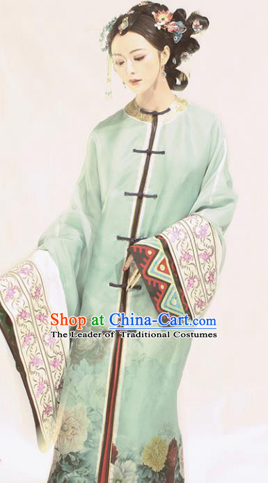 Chinese Ancient Nobility Lady Hanfu Dress Traditional Qing Dynasty Young Mistress Embroidered Costume for Women