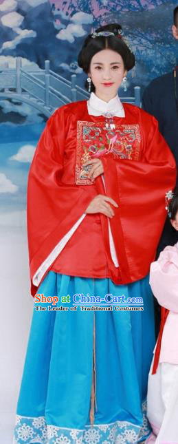 Traditional Chinese Ming Dynasty Imperial Consort Hanfu Dress Ancient Palace Lady Costume and Headpiece for Women