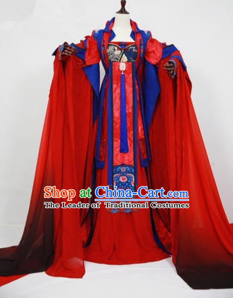 Chinese Ancient Cosplay Empress Wedding Costume Tang Dynasty Court Queen Embroidered Hanfu Dress for Women