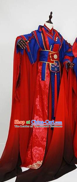 Chinese Ancient Emperor Wedding Costume Cosplay Prince Swordsman Embroidered Clothing for Men