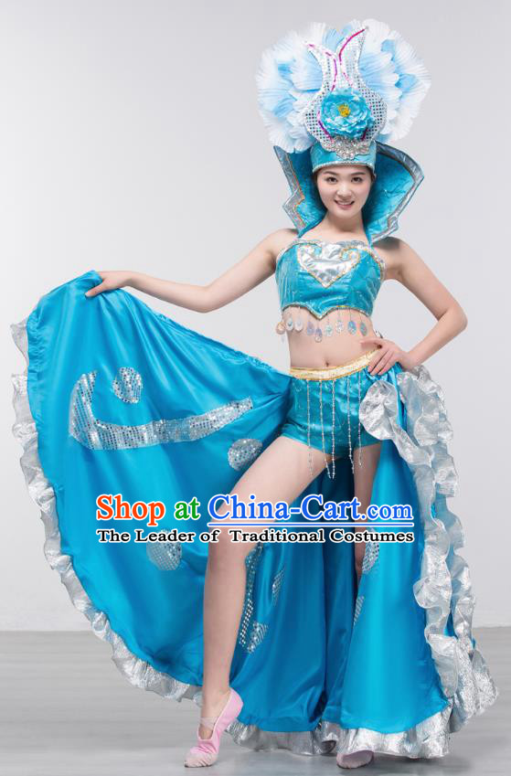 Spanish Traditional Paso Doble Costume Opening Dance Modern Dance Big Swing Blue Dress and Headpiece for Women
