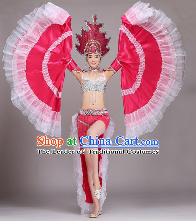 Top Grade Modern Dance Costume Opening Dance Rosy Clothing and Headpiece for Women