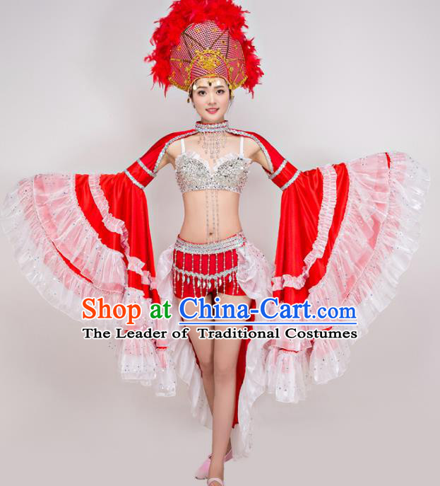 Top Grade Modern Dance Costume Opening Dance Red Clothing and Headpiece for Women