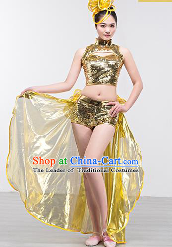 Top Grade Stage Performance Jazz Dance Costume Opening Modern Dance Golden Clothing and Headpiece for Women