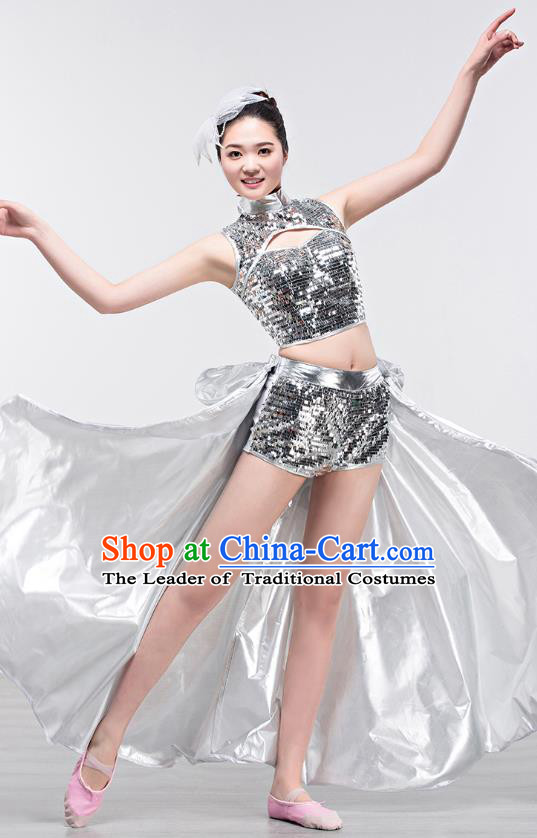 Top Grade Stage Performance Jazz Dance Costume Opening Modern Dance Clothing and Headpiece for Women