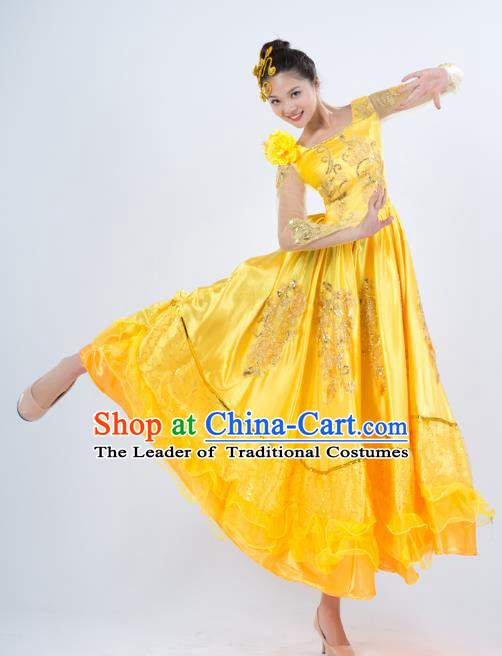 Top Grade Stage Performance Folk Dance Costume Opening Modern Dance Yellow Dress for Women