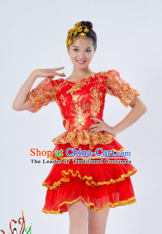 Top Grade Stage Performance Folk Dance Costume Opening Modern Dance Red Dress for Women