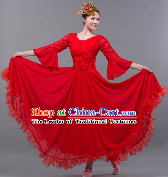 Top Grade Stage Performance Classical Dance Costume Chorus Modern Dance Red Dress for Women