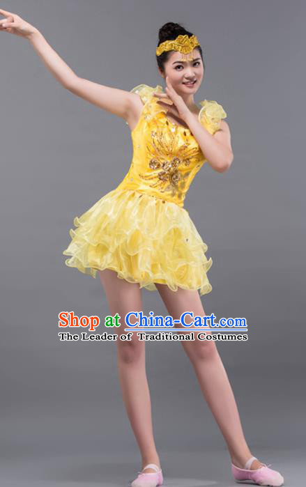 Top Grade Stage Performance Folk Dance Costume Chorus Modern Dance Yellow Bubble Dress for Women