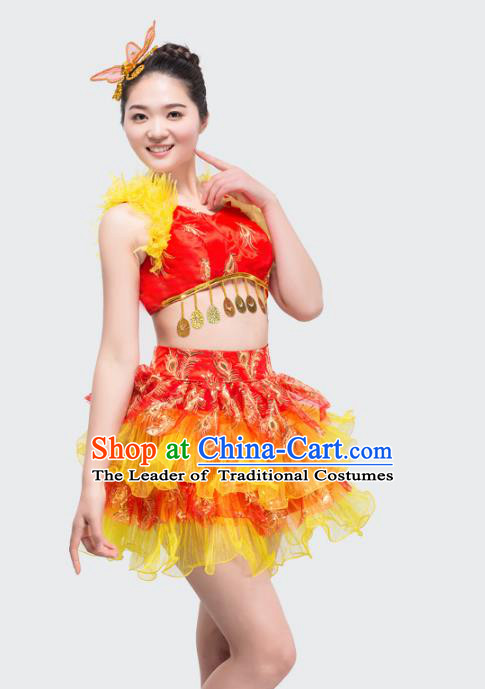 Top Grade Stage Performance Jazz Dance Costume Chorus Modern Dance Red Bubble Dress for Women