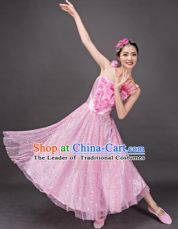 Top Grade Stage Performance Folk Dance Costume Chorus Modern Dance Pink Dress for Women