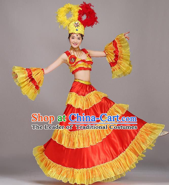Top Grade Stage Performance Costume Chorus Modern Dance Red Dress and Headpiece for Women