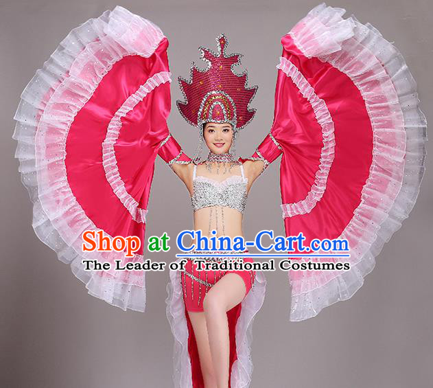 Top Grade Stage Show Costume Chorus Modern Dance Rosy Dress and Headpiece for Women