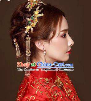 Chinese Traditional Handmade Bride Wedding Hair Accessories Ancient Hairpins Tassel Step Shake Complete Set for Women