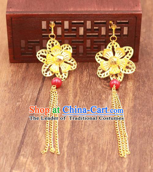 Traditional Chinese Jewelry Accessories Golden Flower Eardrop Ancient Hanfu Tassel Earrings for Women