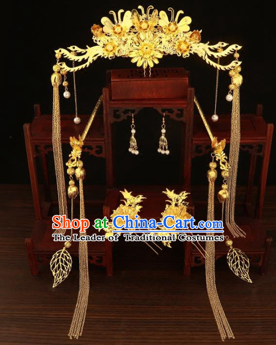 Chinese Traditional Xiuhe Suit Hair Accessories Handmade Golden Phoenix Coronet Ancient Hairpins Complete Set for Women