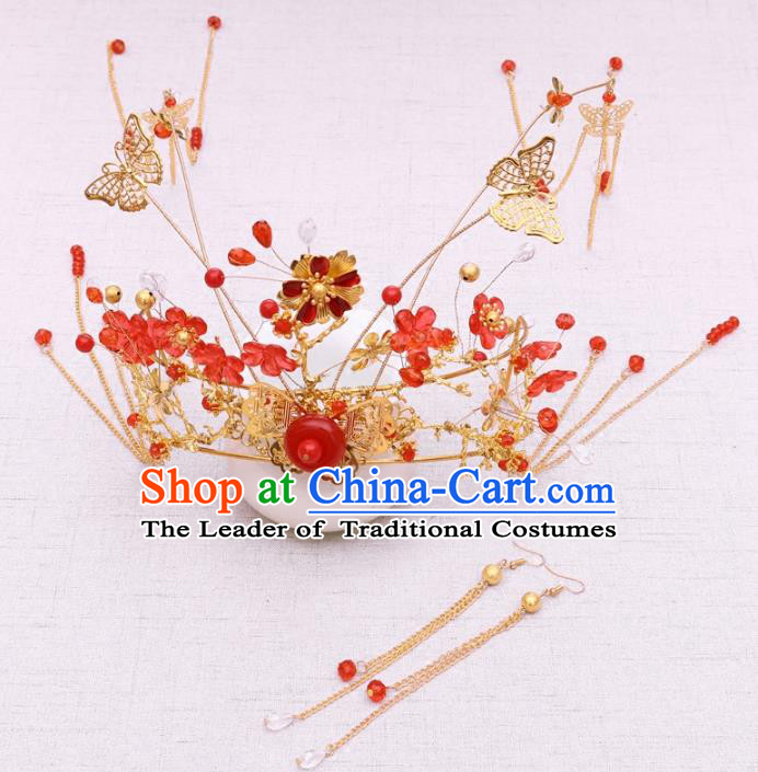 Chinese Traditional Hair Accessories Xiuhe Suit Handmade Phoenix Coronet Ancient Hairpins for Women