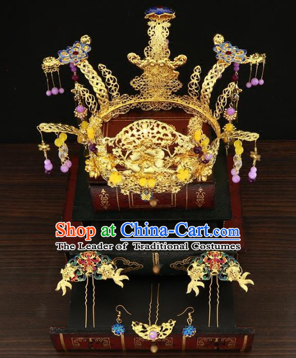 Chinese Traditional Hair Accessories Xiuhe Suit Handmade Blueing Phoenix Coronet Ancient Hairpins Tassel Step Shake for Women