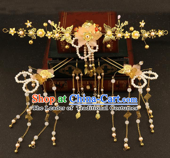 Chinese Traditional Xiuhe Suit Hair Accessories Bride Butterfly Hair Clasp Ancient Jade Hairpins Complete Set for Women