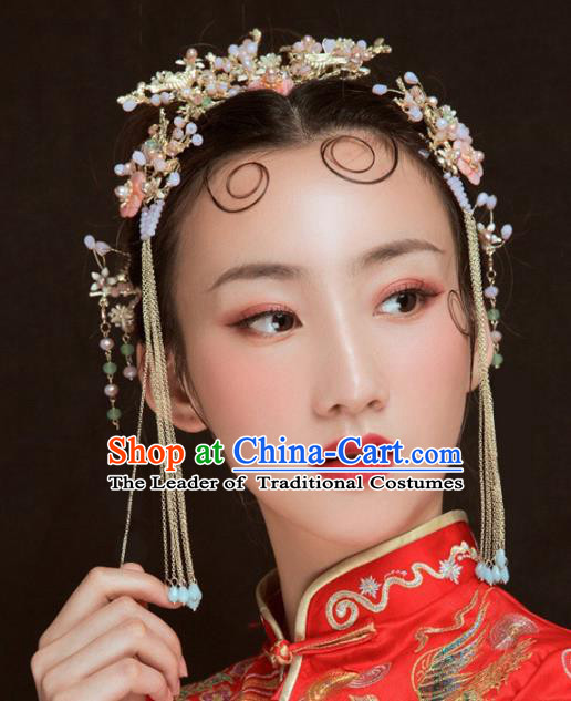 Chinese Traditional Hair Accessories Xiuhe Suit Handmade Hair Comb Ancient Hairpins Tassel Step Shake for Women