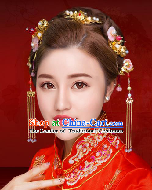 Chinese Traditional Xiuhe Suit Hair Accessories Shell Flowers Phoenix Coronet Ancient Hairpins Complete Set for Women