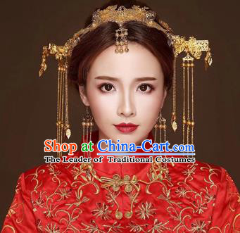 Chinese Traditional Handmade Bride Phoenix Coronet Hair Accessories Tassel Step Shake Ancient Hairpins Complete Set for Women
