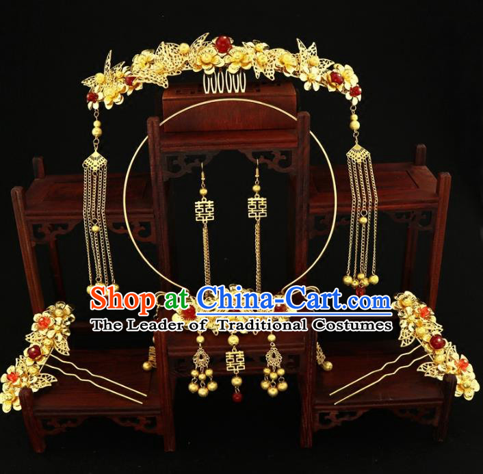 Chinese Traditional Handmade Hair Accessories Xiuhe Suit Hair Comb Ancient Hairpins and Necklace for Women